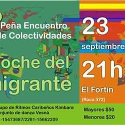 """Se realizará la 4° peña """"Encuentro de colectividades - La noche del inmigrante"""""""
