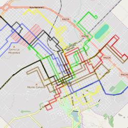 Recorrido de las líneas de colectivos urbanos de Tandil