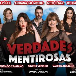 """Nazarena Vélez, Adriana Salgueiro, Beto Cesar y elenco en """"Verdades Mentirosas"""""""