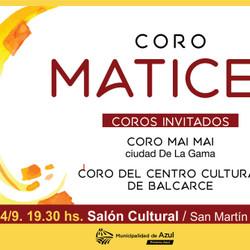 El Coro Matices se presentará en el Salón Cultural